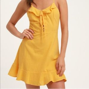 HERE TO DANCE YELLOW LACE-UP MINI DRESS